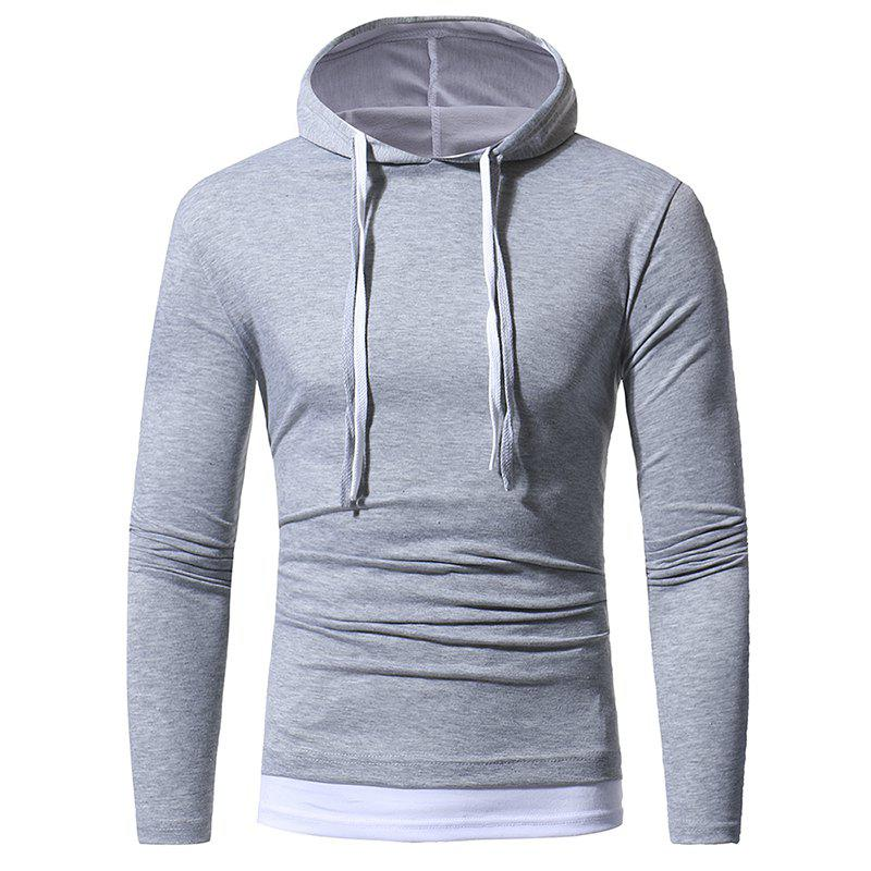 2017 Autumn and Winter New Solid Color Fake Two Double Cap Men'S Casual Slim Long-Sleeved T-Shirt - LIGHT GRAY XL