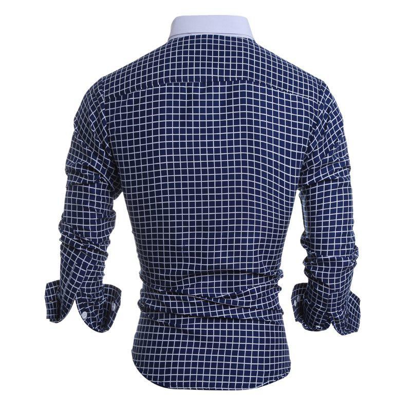 2017 Autumn and Winter New Classic Plaid Men'S Casual Long-Sleeved Shirt - CADETBLUE XL