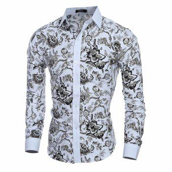 New Classic Style Gentleman Casual Slim Long Sleeve Shirt - WHITE M