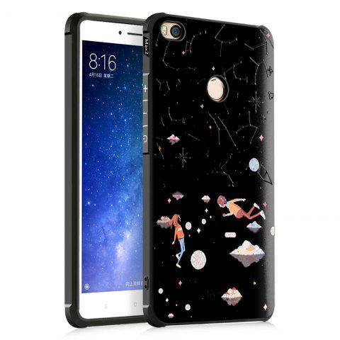 Star Sky Love Design Ultra Slim TPU Shockproof Black Silicone Soft Back Case for Xiaomi Mi Max 2 - BLACK