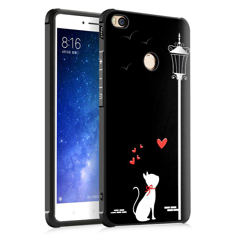Love Cat Design Ultra Slim TPU Shockproof Black Silicone Soft Back Case for Xiaomi Mi Max 2 - BLACK