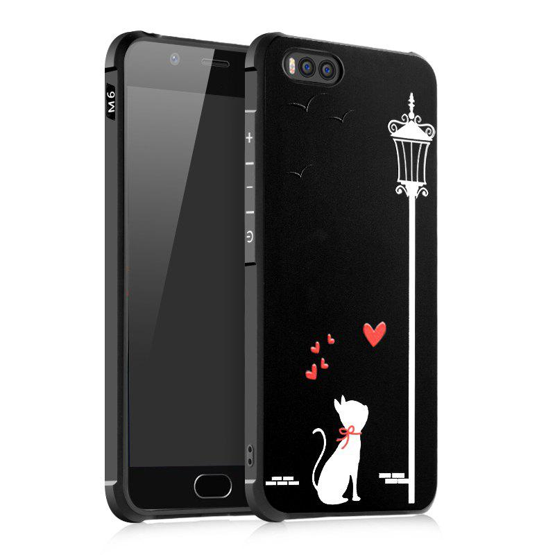 Love Cat Design Ultra Slim TPU Shockproof Black Silicone Soft Back Case for Xiaomi Mi 6 - BLACK