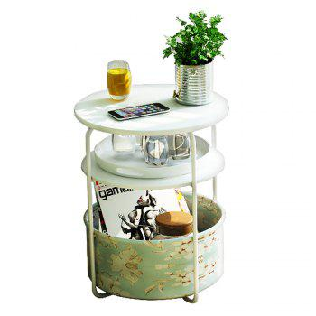 Round Wooden Side Table/End Table,3 Tiers With a Book Storage Canvas Basket Bag - WHITE WHITE