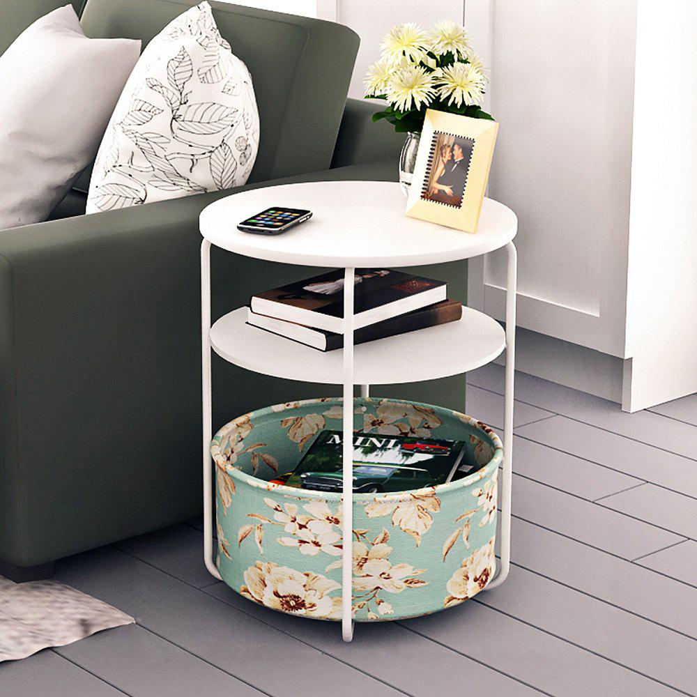 Round Wooden Side Table/End Table,3 Tiers With a Book Storage Canvas Basket Bag - WHITE 1PC