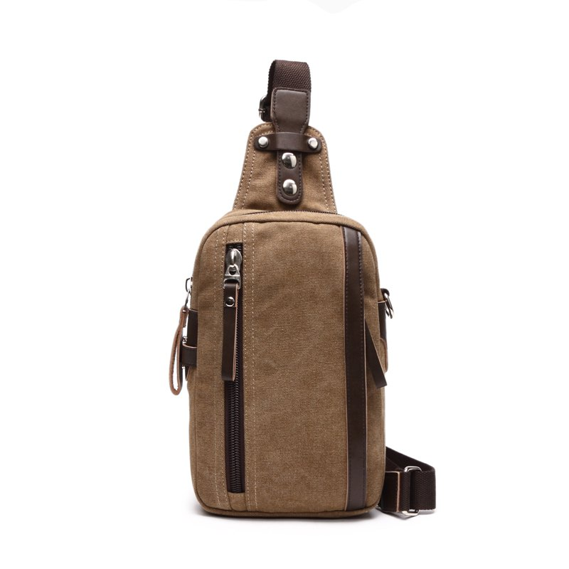 Outdoor Casual Canvas Slanted Across Single Shoulder Backpack - KHAKI