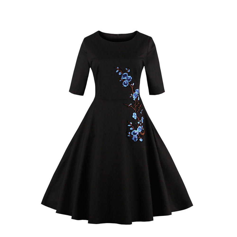 Embroidery Vintage Dress Women 50S Rockabilly Autumn Robe A-Line Party Dresses Feminino Vestidos De Fiesta