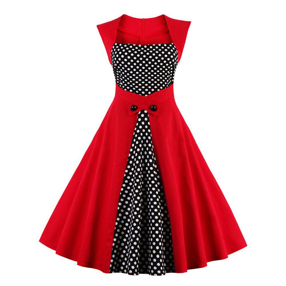 Vintage Retro Women Dress Sleeveless Polka Dot 2017 Summer Party Evening Vestido Elegant Ladies Red A Line Plus Size 4XL вечернее платье red evening dress vestido sexy long evening dress