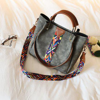 New Handbags Colorful Straps Frosted Leather Bags - GRAY