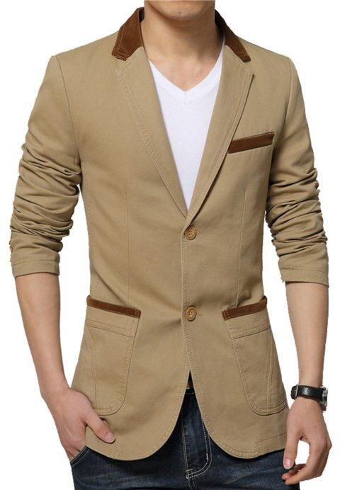 Winter Fall Spring Men Turn-Down Collar Overcoat Casual Fashion Slim Outwear Trench Coat - KHAKI XL