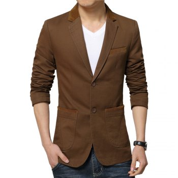 Winter Fall Spring Men Turn-Down Collar Overcoat Casual Fashion Slim Outwear Trench Coat - COFFEE COFFEE
