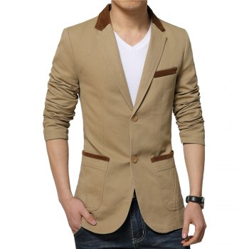 Winter Fall Spring Men Turn-Down Collar Overcoat Casual Fashion Slim Outwear Trench Coat - KHAKI KHAKI