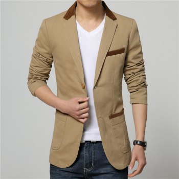 Winter Fall Spring Men Turn-Down Collar Overcoat Casual Fashion Slim Outwear Trench Coat - KHAKI 3XL