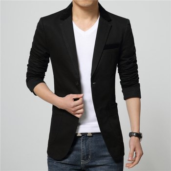 Winter Fall Spring Men Turn-Down Collar Overcoat Casual Fashion Slim Outwear Trench Coat - BLACK XL