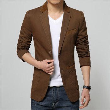 Winter Fall Spring Men Turn-Down Collar Overcoat Casual Fashion Slim Outwear Trench Coat - COFFEE L