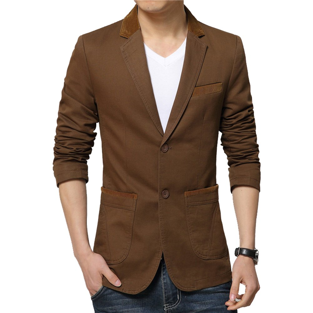 Winter Fall Spring Men Turn-Down Collar Overcoat Casual Fashion Slim Outwear Trench Coat - COFFEE 3XL