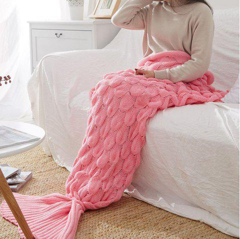 Knitting Fish Scale Design Mermaid Blanket Child Adult - PINK 90CM X 195CM