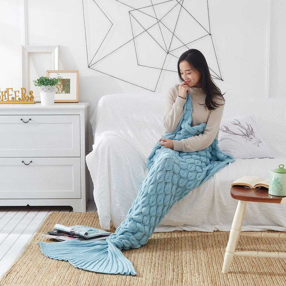 Knitting Fish Scale Design Mermaid Blanket Child Adult - LIGHT BLUE 90CM X 195CM