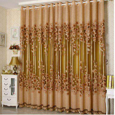 Simple Modern European Style High Grade Lily Half Shade Rotten Flower Yarn Finished Curtain - COFFEE FLAT FRONT