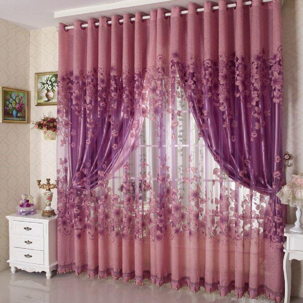 Simple Modern European Style High Grade Lily Half Shade Rotten Flower Yarn Finished Curtain миска lily flower g2286 h4266