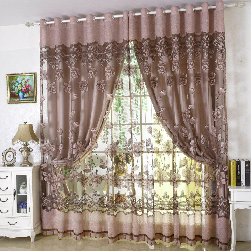 2018 Flower Print Living Room Balcony Curtain Gray Flat