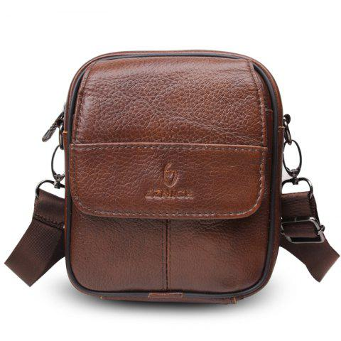 Genuine Leather Bags Messenger Bag for Men - BROWN