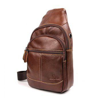 Genuine Leather Bags Designer Handbags Fashion Vintage Men's Crossbody Bag - BROWN