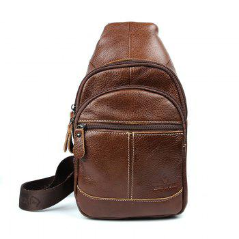 Genuine Leather Bags Designer Handbags Fashion Vintage Men's Crossbody Bag - BROWN BROWN