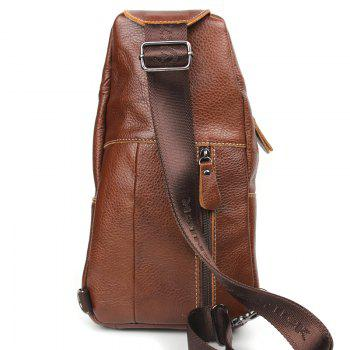 Genuine Leather Men Bag Men Messenger Bags Leather Shoulder Crossbody Bag - BROWN