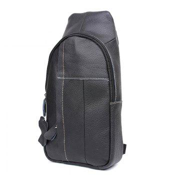 Genuine Leather Men Bag Men Messenger Bags Leather Shoulder Crossbody Bag - BLACK