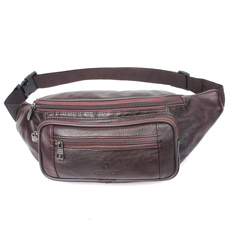 Genuine Leather Bag Men Waist Bag Men's Multifunction Travel Bags Chest Pack Men Waist Pack - WINE RED