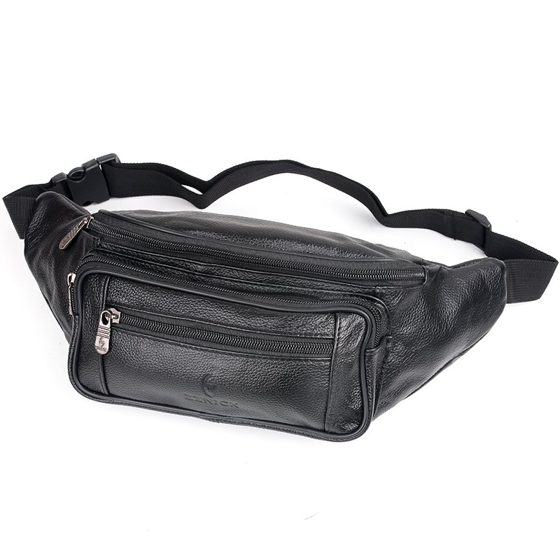 Genuine Leather Bag Men Waist Bag Men's Multifunction Travel Bags Chest Pack Men Waist Pack - BLACK