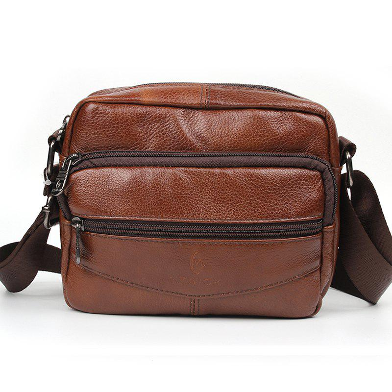 2017 Fashion Genuine Leather Handbag Men's Messenger Bags Man Portfolio Office Bag - BROWN
