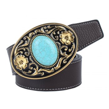 The western cowboy belt of turquoise stone - COFFEE COFFEE