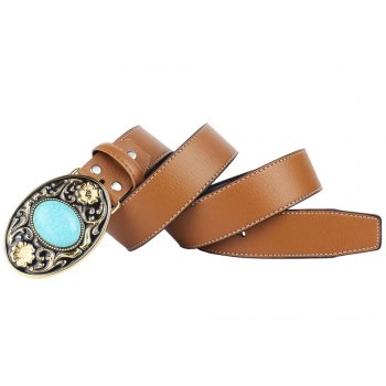 The western cowboy belt of turquoise stone - YELLOW LEATHER BAND