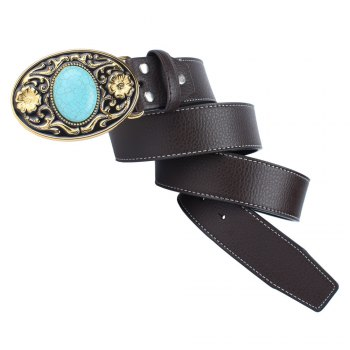The western cowboy belt of turquoise stone - COFFEE LEATHER BAND