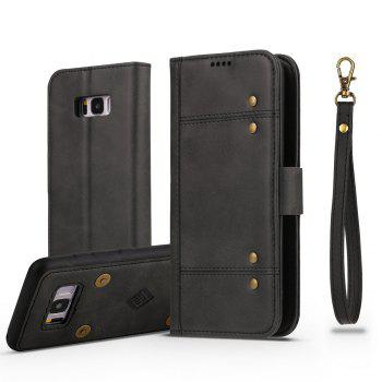 LCIMEEKE Solid Color Stitching Style 2 in 1 Detachable Magnetic Wallet Case for Samsung Galaxy S8 - BLACK BLACK