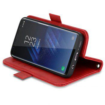 LCIMEEKE Solid Color Stitching Style 2 in 1 Detachable Magnetic Wallet Case for Samsung Galaxy S8 - RED