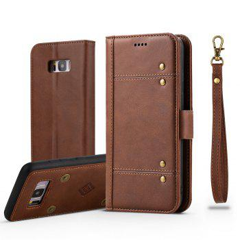LCIMEEKE Solid Color Stitching Style 2 in 1 Detachable Magnetic Wallet Case for Samsung Galaxy S8 - BROWN BROWN