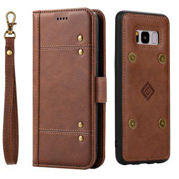 LCIMEEKE Solid Color Stitching Style 2 in 1 Detachable Magnetic Wallet Case for Samsung Galaxy S8 -  BROWN