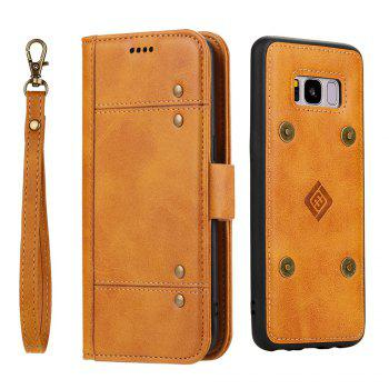LCIMEEKE Solid Color Stitching Style 2 in 1 Detachable Magnetic Wallet Case for Samsung Galaxy S8 - YELLOW