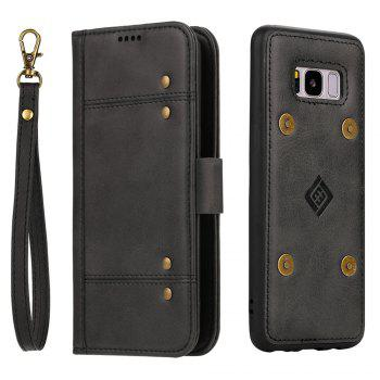 LCIMEEKE Solid Color Stitching Style 2 in 1 Detachable Magnetic Wallet Case for Samsung Galaxy S8 Plus - BLACK BLACK