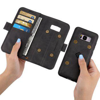 LCIMEEKE Solid Color Stitching Style 2 in 1 Detachable Magnetic Wallet Case for Samsung Galaxy S8 Plus - BLACK