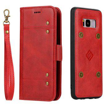 LCIMEEKE Solid Color Stitching Style 2 in 1 Detachable Magnetic Wallet Case for Samsung Galaxy S8 Plus - RED RED