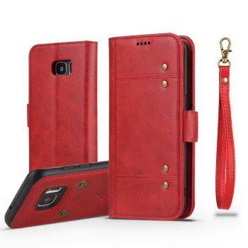 LCIMEEKE Solid Color Stitching Style 2 in 1 Detachable Magnetic Wallet Case for Samsung Galaxy S7 - RED RED