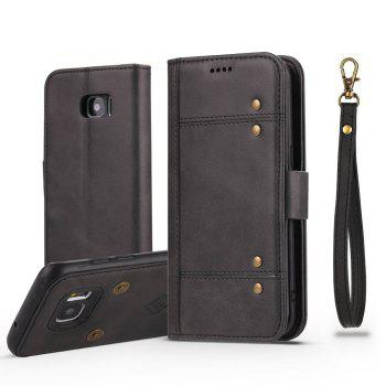 LCIMEEKE Solid Color Stitching Style 2 in 1 Detachable Magnetic Wallet Case for Samsung Galaxy S7 - BLACK BLACK