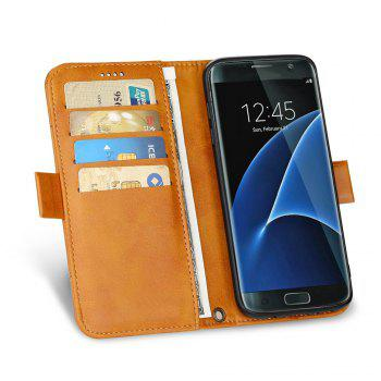 LCIMEEKE Solid Color Stitching Style 2 in 1 Detachable Magnetic Wallet Case for Samsung Galaxy S7 -  YELLOW