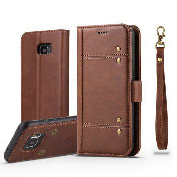 LCIMEEKE Solid Color Stitching Style 2 in 1 Detachable Magnetic Wallet Case for Samsung Galaxy S7 - BROWN BROWN