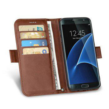 LCIMEEKE Solid Color Stitching Style 2 in 1 Detachable Magnetic Wallet Case for Samsung Galaxy S7 - BROWN