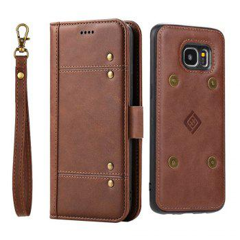 LCIMEEKE Solid Color Stitching Style 2 in 1 Detachable Magnetic Wallet Case for Samsung Galaxy S7 Edge - BROWN BROWN