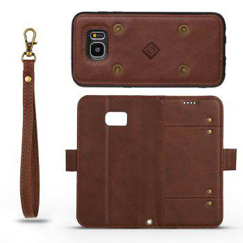 LCIMEEKE Solid Color Stitching Style 2 in 1 Detachable Magnetic Wallet Case for Samsung Galaxy S7 Edge -  BROWN